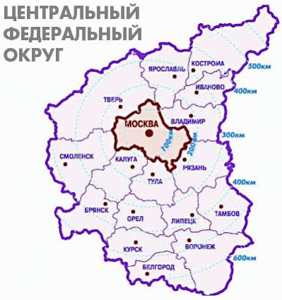 Карта центрального региона России